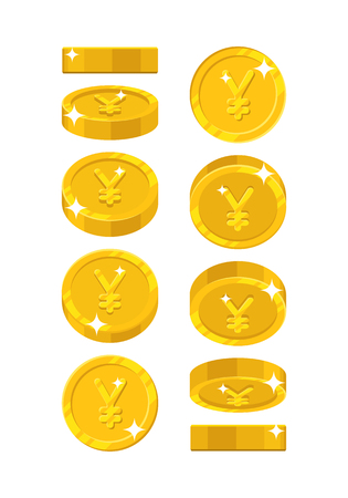 Gold Chinese yuan or Japanese yen views cartoon style isolated Illustration