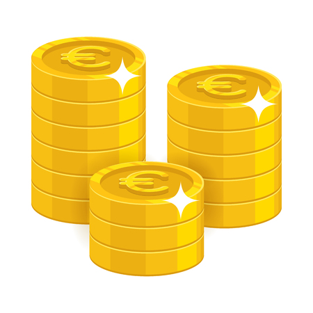 Gold euro coins. Having a lot of money and possessions symbol. Business finance and economy concept. Cartoon vector illustration isolated on white background