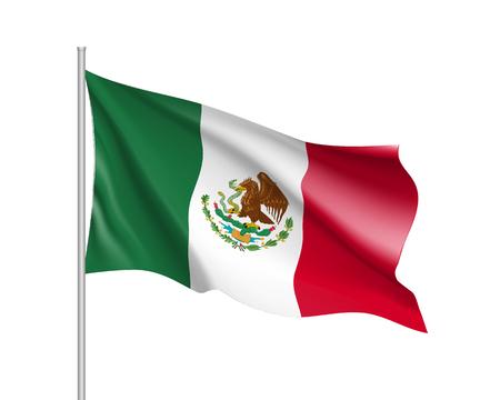 Bandera de México. Ilustración de la bandera del país de América del Norte en el asta de la bandera. Icono de vector 3d aislado sobre fondo blanco Foto de archivo - 85354326