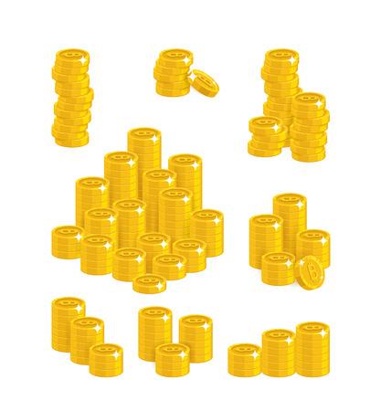Slides gold bitcoins isolated cartoon set