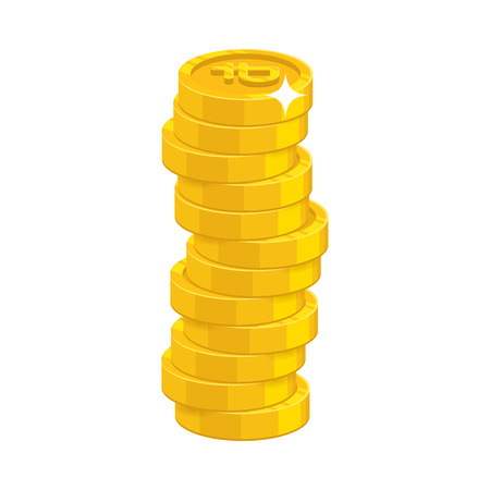 Stack of gold coins in isolated background