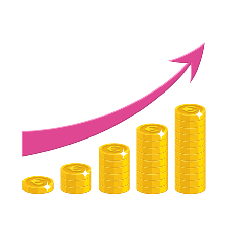 The increase of profit in gold bitcoins with pink arrow. Income growth cartoon style isolated.