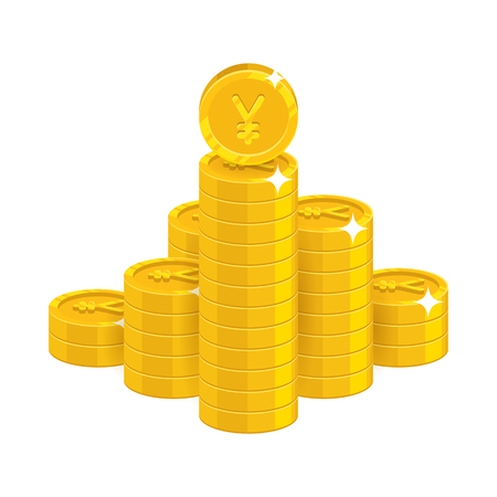 Mountain gold Chinese yuan or Japanese yen isolated cartoon icon Illustration