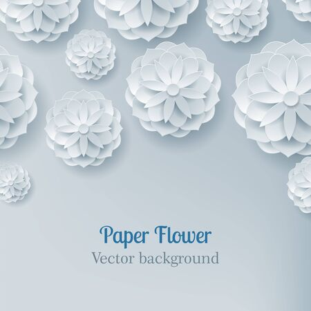 Card paper flower light background above. Card paper flower in a light background frome above for designers and illustrators. Craftwork as a vector illustration