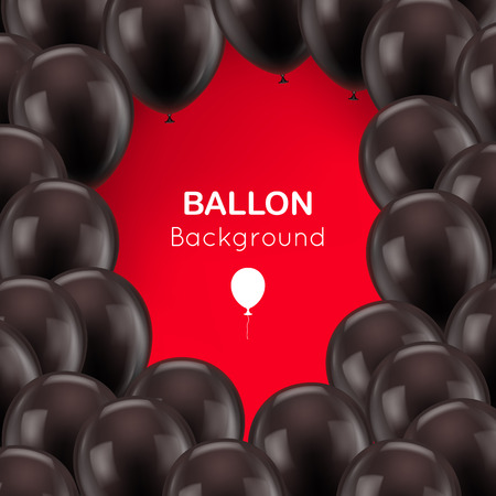 kids birthday party: Black balls frame red background Illustration