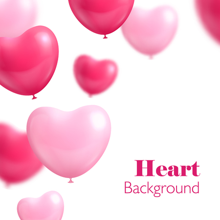 bunch of hearts: Hearts balloon white background