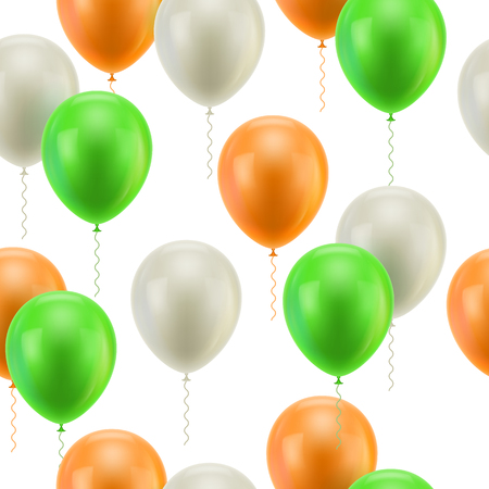 Colored balloons white background seamless