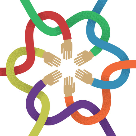 intertwined: Association several intertwined multicolored hands flat style. Union of several colored intertwined hands for designers and illustrators. Sign of frendship in the form of a vector illustration Illustration