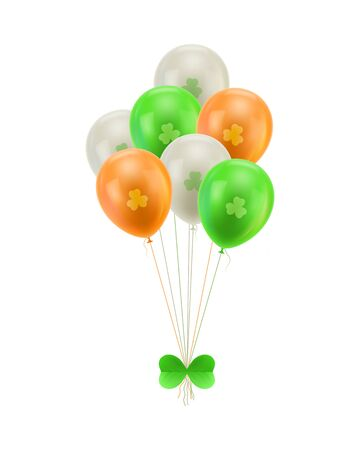Bundle balloons green bow isolated