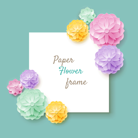 Paper flower frame turquoise background