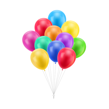 Bundle colored balloons isolated Illustration