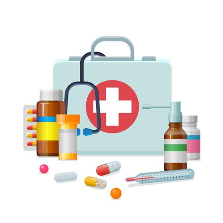 Eerste hulp kit medicijn cartoon stijl geïsoleerd Vector Illustratie