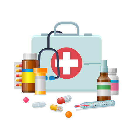 First aid kit medicine cartoon style isolated Иллюстрация