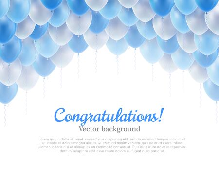 Congratulation banner blue flying balls background above Illustration