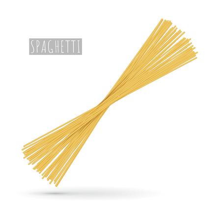 Raw spaghetti pasta realistic Illustration