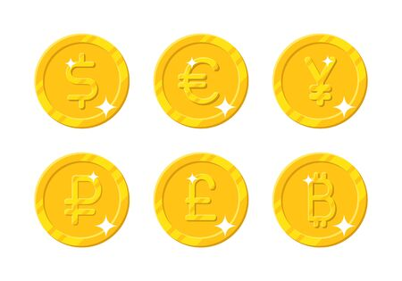 Gold coins different currency Illustration