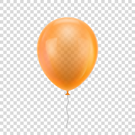 inflatable ball: Orange realistic balloon. Orange ball isolated on a transparent background for designers and illustrators. Illustration