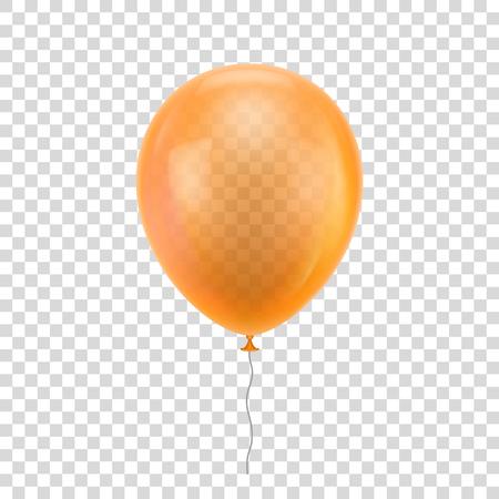 Orange realistic balloon. Orange ball isolated on a transparent background for designers and illustrators. Illustration