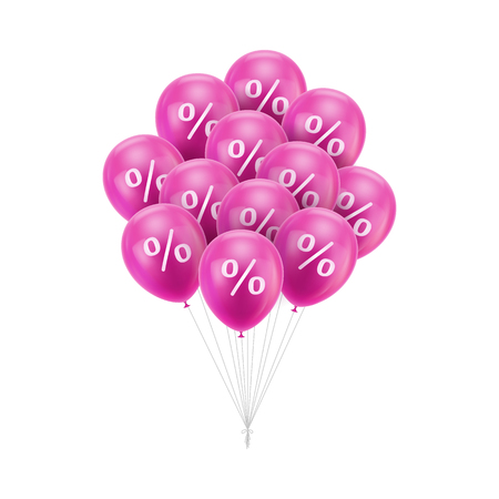 Bunch of pink balloons discount with percent sign. Decorative symbol for the store opening, Illustration