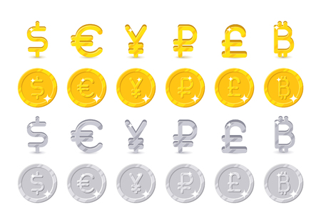 World currency signs and coins illustration. Illustration