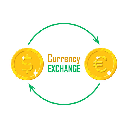 Gold money currency exchange. Dollar, euro gold coins in row and directing arrows. Investment, trade, saving finance. Vector illustration isolated on white background