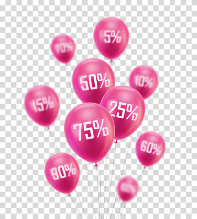 Flying pink discount balloon design print.