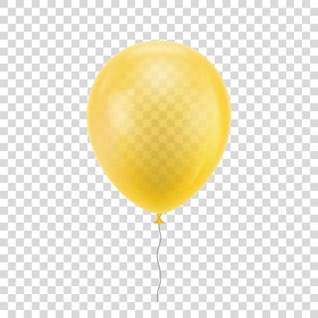 黄色の現実的なバルーン デザイン印刷。