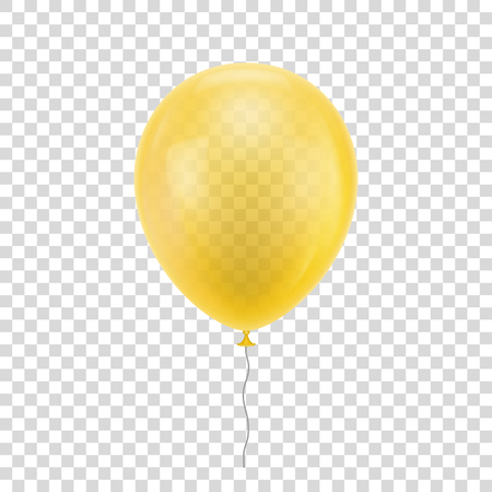Yellow realistic balloon design print.