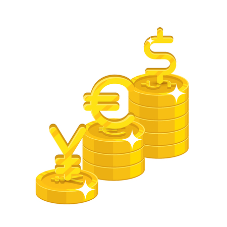 Yen, euro, dollar signs with coins illustration. Illustration