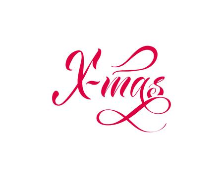 X-mas 引用手描き。白の背景にベクトル書道レタリング。赤いタイポグラフィ。