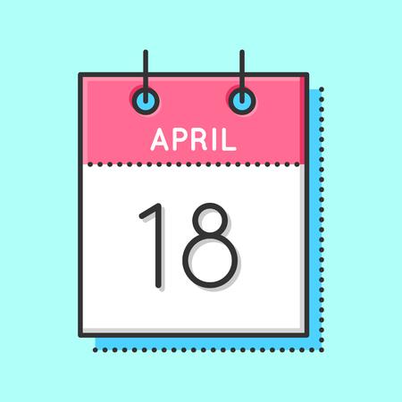 April Calendar Icon. Flat and thin line vector illustration. Spring calendar sheet on light blue background. April 18th. World Amateur Radio Day.