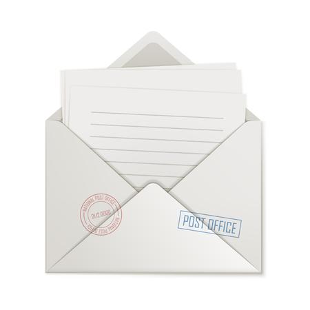 Uncovered envelope, few lined paper on white background. Illustration