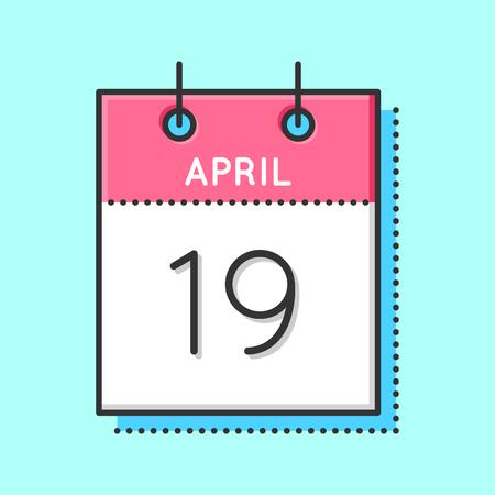 April calendar icon on light background, vector illustration. Ilustrace
