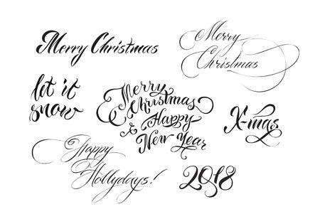 Christmas hand drawn lettering Stok Fotoğraf - 91585353