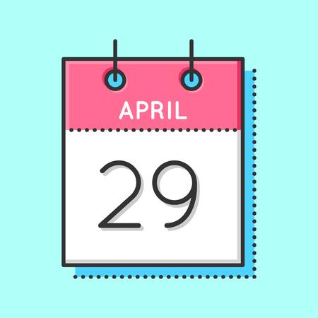 April Calendar Icon. Flat and thin line vector illustration. Spring calendar sheet on light blue background. April 29th