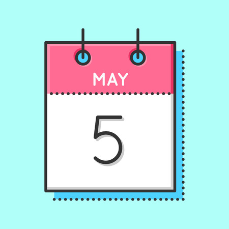 May Calendar Icon. Flat and thin line vector illustration. Spring calendar sheet on light blue background. May 5th. Father`s day in Germany. International Midwives day. Cinco de mayo Illustration