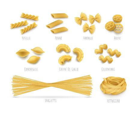 Pasta pattern seamless, realistic style. Background of Italian flour products. Vector illustrations fetuchini, spaghetti, cannelloni, farfalle concept
