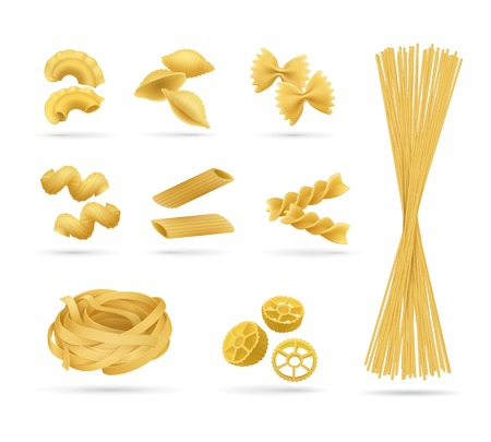 Pasta set, realistic style