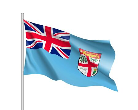 Waving flag of Fiji. Illustration of Oceania country flag on flagpole. Vector 3d icon isolated on white background