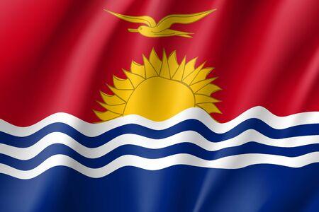 State Kiribati national flag. Patriotic symbol in official country colors. Illustration of Oceania state flag. Vector realistic icon Illustration