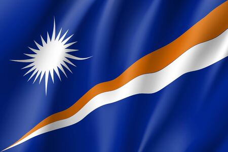 Marshall Islands national flag. Patriotic symbol in official country colors. Illustration of Oceania state flag. Vector realistic icon