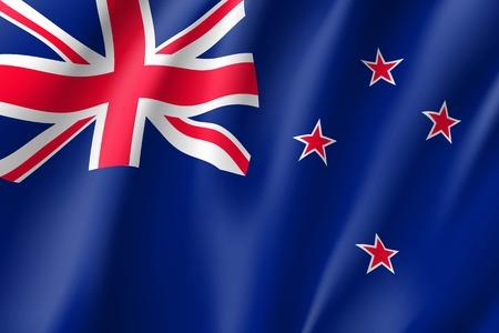 Waving flag of New Zealand illustration.