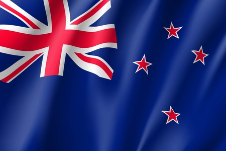 Waving flag of New Zealand illustration.
