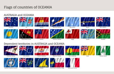 Flags Australia and Oceania in colored  illustration. Çizim
