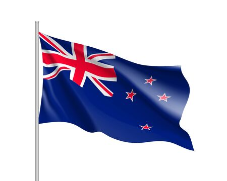 Waving flag of New Zealand