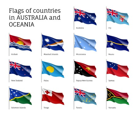 Flags countries Australia and Oceania Illustration