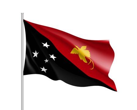 Waving flag of Papua New Guinea. Illustration