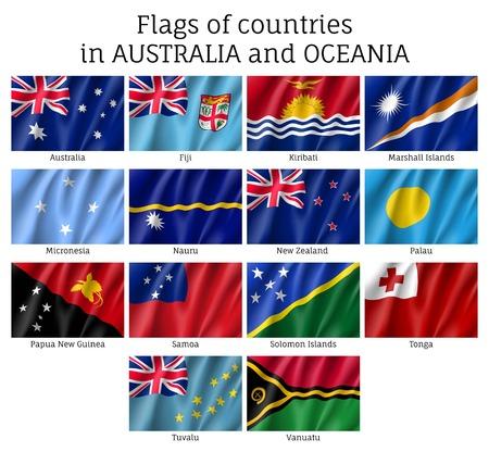 Australia and Oceania flags vector illustration.