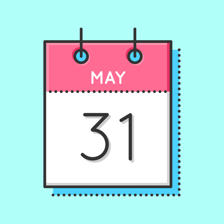 May calendar icon on light background illustration.