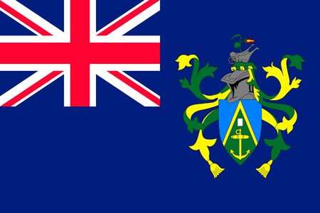 Flag Pitcairn Islands flat style . The icon of national symbol. State sign in flat style on the entire page as vector illustration Illustration